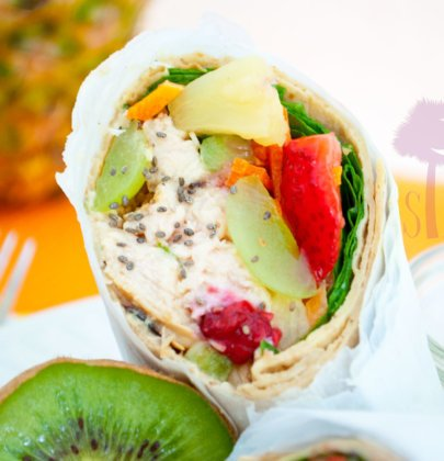 Tropical Grilled Chicken Wraps w/ Honey Lime Dipping Sauce