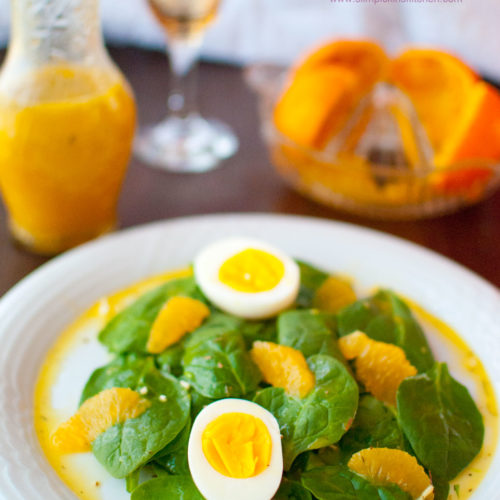 Fresh spinach salad w/ hard boiled eggs and oranges