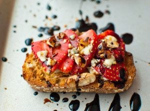 Strawberry Gorgonzola Bruschetta w/ a Balsamic Reduction
