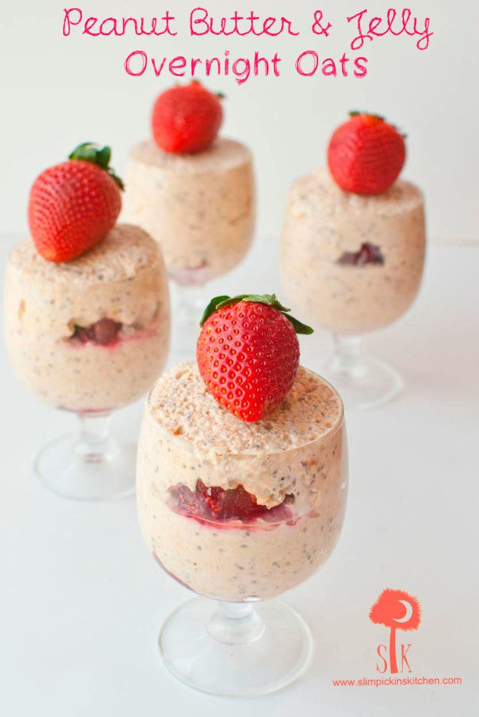 4 jars overnight oats with one fresh strawberry on top