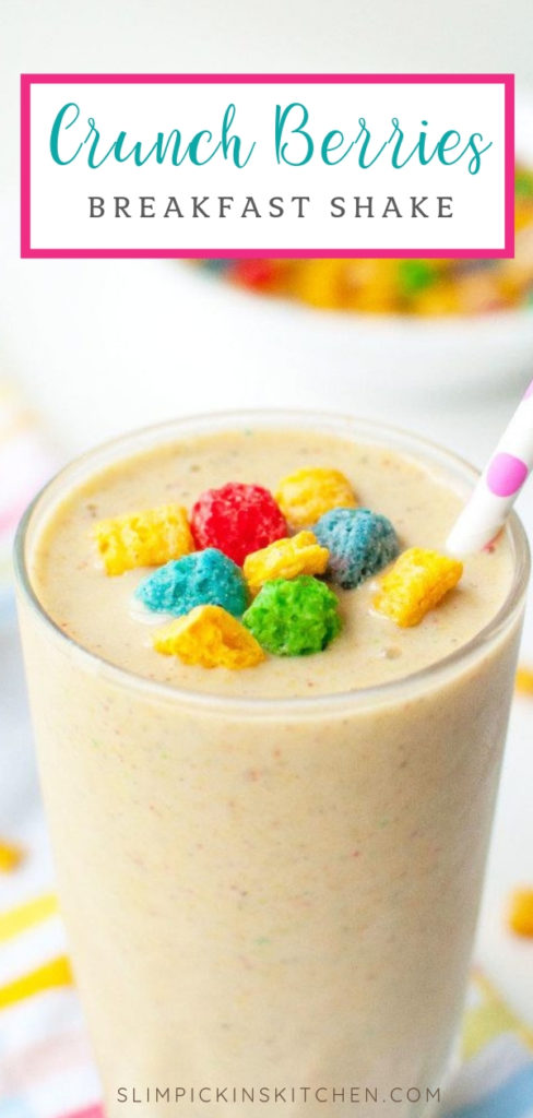 Close up pinterest image of crunch berries banana smoothie