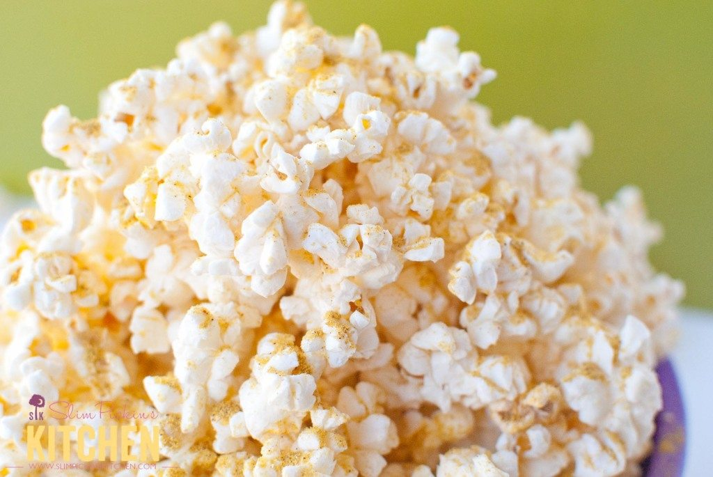 Butter Free Microwave Popcorn w/ Noocho Cheese * Slim Pickin's Kitchen