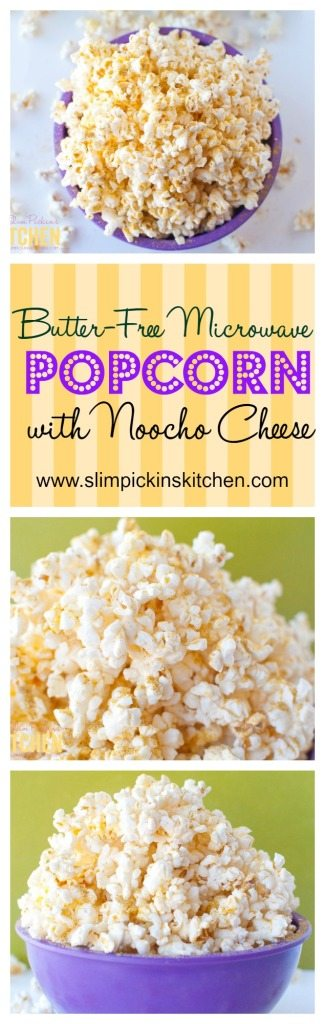 Butter-free Microwave Popcorn w/ Noocho Cheese * Slim Pickin's Kitchen
