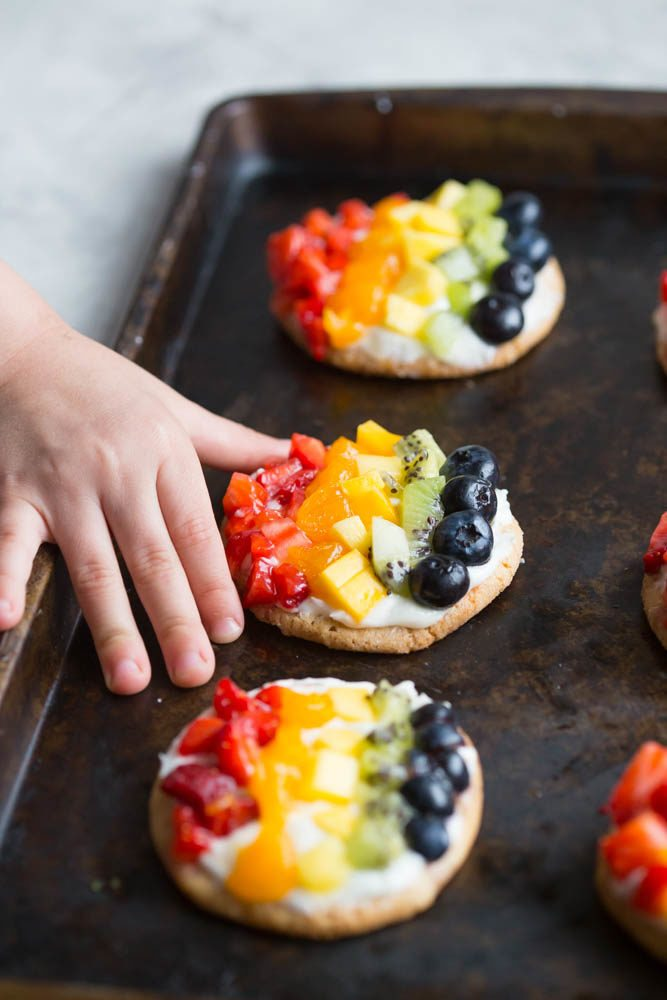 Personal Rainbow Fruit Pizza Cookies w/ Key Lime Cream Cheese Frosting